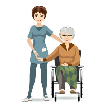 Senior Woman on Wheelchair and Nurse