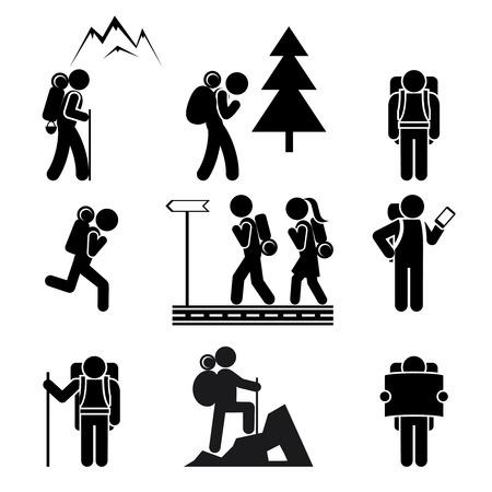 Illustration pour Hiking people icons - image libre de droit