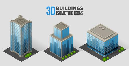 Foto de Vector skyscrapers with trees, isometric buildings of glass and concrete - Imagen libre de derechos