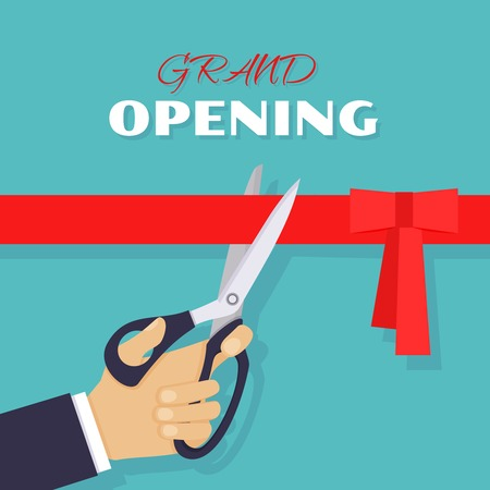 Grand opening ceremony and celebration and event. Scissors cut red ribbon. Vector illustration