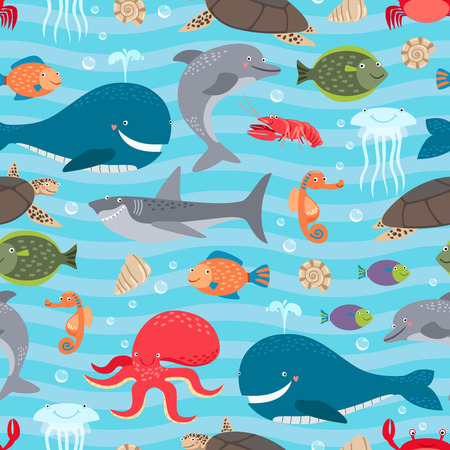 Illustration pour Sea creatures seamless background - image libre de droit