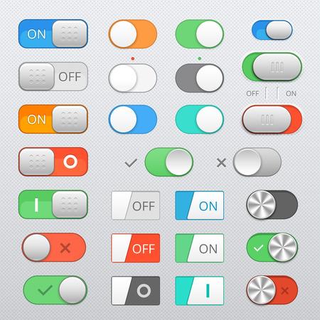 Illustration pour Toggle switch set, On and Off sliders, vector elements - image libre de droit