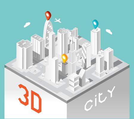 Paper 3d city. Isometric buildings landscape