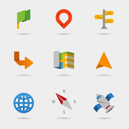 Map, location and navigation icons in flat paper style