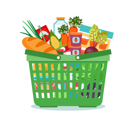 Shopping basket with food vector illustration