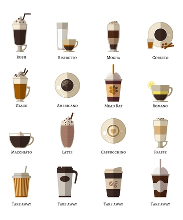 Coffee types vector flat icons set