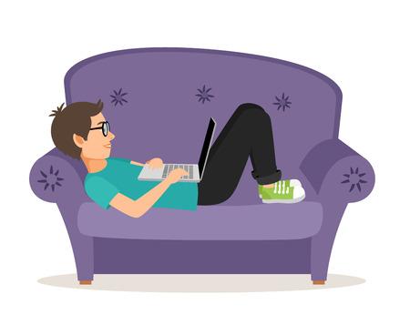 Illustration pour Gamer man lying on sofa with laptop - image libre de droit