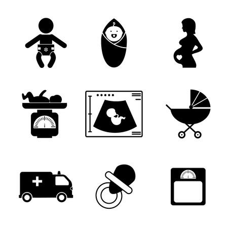 Illustration pour Pregnancy and birth icons - image libre de droit