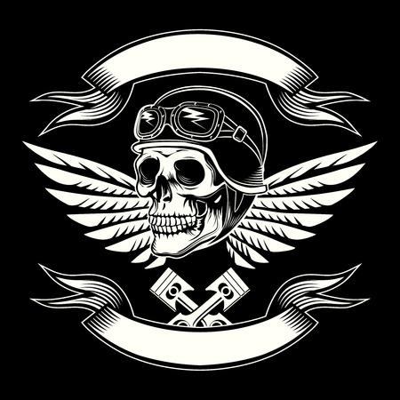 Illustration pour Motor skull vector graphic. Motorcycle vintage design - image libre de droit
