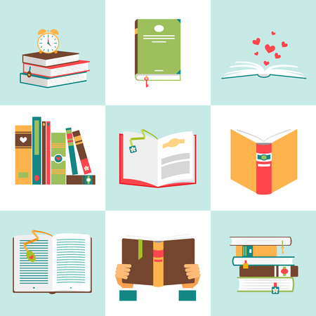 Illustration pour Set of books in flat design. Literature and library, education and science, knowledge and study, vector illustration - image libre de droit