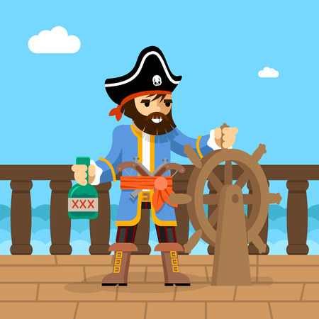 Filibuster. Captain of  pirate ship standing on deck at helm with bottle of rum. Vector illustration