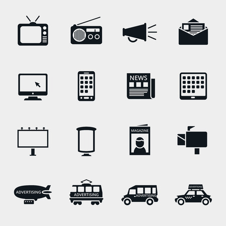 Illustration for Vector advertising media silhouette icons set. Marketing and television, radio and internet, media content, multimedia market illustration - Royalty Free Image