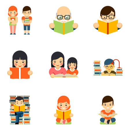 Illustration for Icons set of people reading book in flat style design. Education school, study and student, read in library. Vector illustration - Royalty Free Image