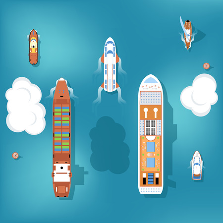 Illustration pour Set of vector ships. Top view. Yacht and travel, ocean and marine, cruise sea, transport boat and ship illustration - image libre de droit