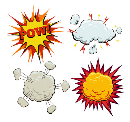 Boom, explosion and pow set. Burst and bang, blast and artwork sketch, fire and smoke bubble, vector illustration
