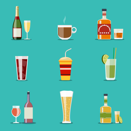 Drink flat icons. Alcohol and beer, wine bottles. Cocktail and champagne, wineglass and tequila, coffee mug, cognac and juice. Vector illustration