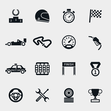 Illustration for Car race icons set. Stopwatch and speedometer, tire and pedestal, helmet and cup, winning finish, flag and speed competition, vector illustration - Royalty Free Image