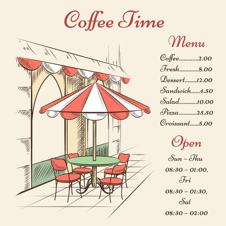 Vector street cafe poster. City and architecture, outdoor menu, town and tourism