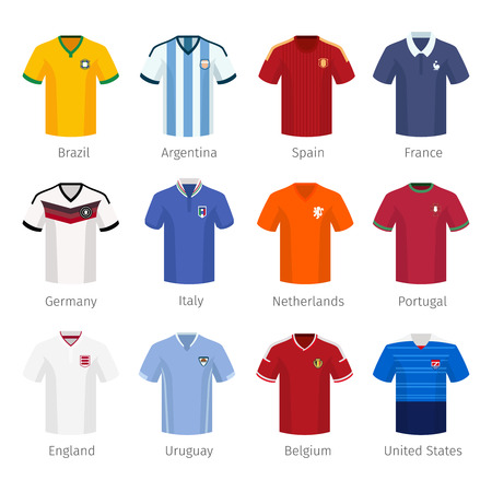 Soccer uniform or football of national teams. argentina brazil spain france germany italy netherlands portugal england. Vector illustration