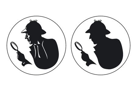 Detective  silhouette. Man in hat, agent spy, private and mysterious, human inspector
