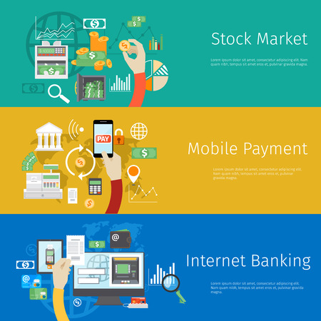 Set of payment concept web banners. Marketing technology, market stock, coin and revenue, bank and earnings, profit and financial.