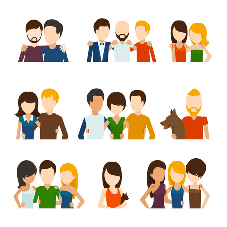 Friends and friendly relations flat icons. People social, person communication, couple human. Vector illustrationのイラスト素材