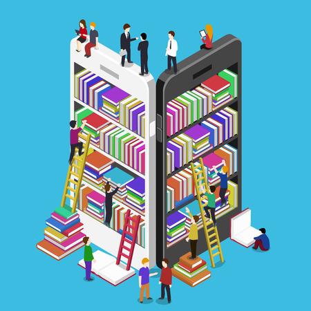 Illustration pour Isometric online mobile library vector flat concept. E-books 3d illustration with micro people - image libre de droit