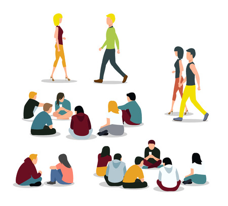 Sitting and walking young people. Girl and boy, man and woman. Vector illustration