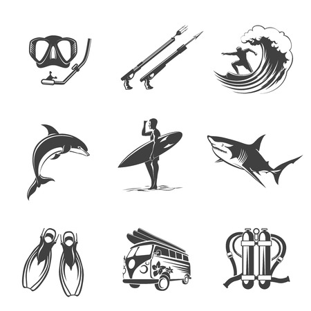 Beach icons black set. Summer, vacation and tourism signs. Leisure and  hunting, dolphins and sharks, fins and scuba, spearfishing surfing and diving. Vector illustration