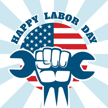 Happy Labor Day and workers right vector poster. Celebration construction, tool wrench in hand. Vector illustration