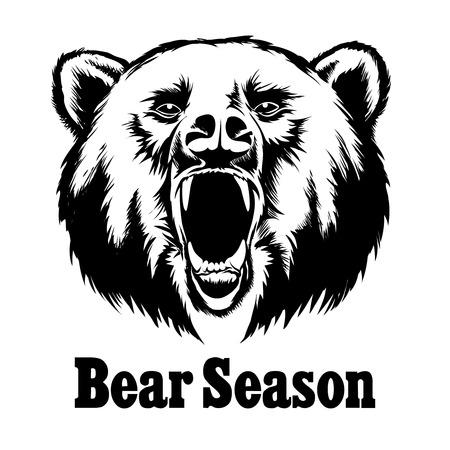 Ilustración de Hand drawn vector roaring bear. T-shirt design. Wild grizzly, angry animal head illustration - Imagen libre de derechos