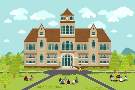 Illustration pour University or college building. Education student, flat campus design, graduation university, vector illustration - image libre de droit