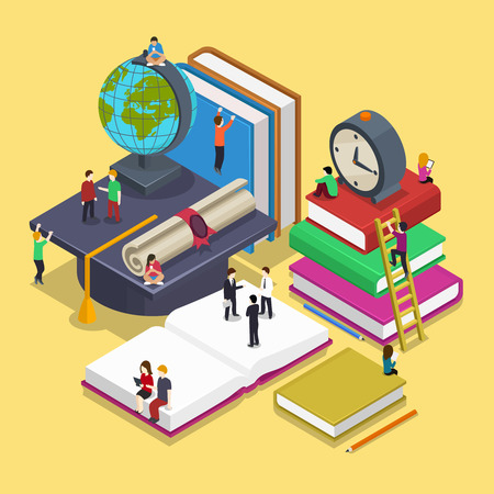 Illustration pour Isometric education graduation concept with people in flat vector style. Back to school 3d illustration. People student and pupil, knowledge and university illustration - image libre de droit