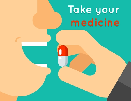 Take your medicine concept.