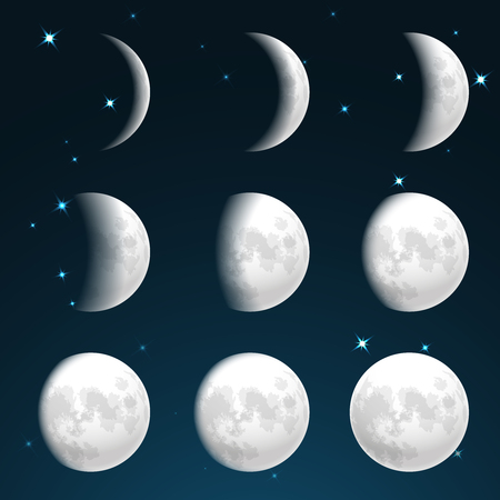 Moon phases in starry sky vector illustration