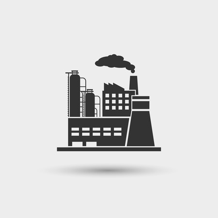Industrial plant icon. Factory industry power, energy manufacturing station, vector illustration