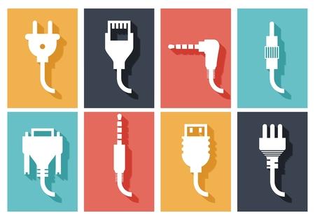 Illustration pour Electric plug flat icons set. Connection technology, connector electric power, device connect, wire and socket, vector illustration - image libre de droit