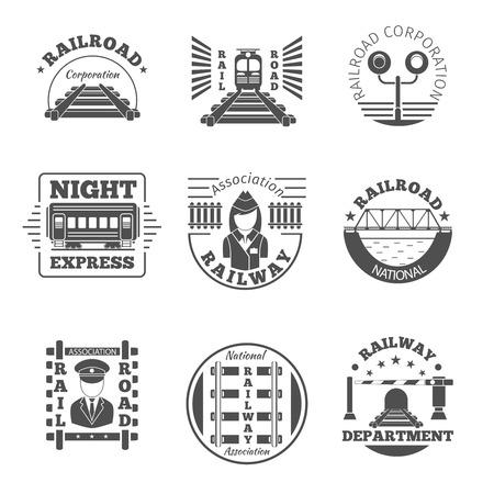Illustration pour Vector set of railway emblem. Railroad labels or icon . Night express, association corporation national department icon illustration - image libre de droit