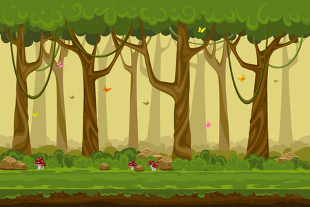 Cartoon forest landscape, endless vector nature background for computer games. Nature tree, outdoor plant green, natural environment wood illustrationのイラスト素材