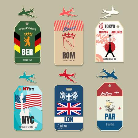 Illustration pour Vintage luggage tags. Label travel, vacation and tourism, vector illustration - image libre de droit