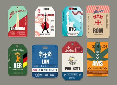 Illustration pour Vintage baggage or luggage vector paper tags set. Rome and tokyo, new york and shanghai, amsterdam and berlin, paris and london illustration - image libre de droit