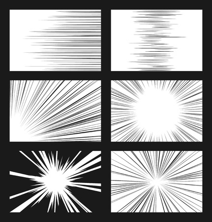 Comic horizontal and radial speed lines vector set. Ray and acceleration, otherworldly visionary illustration