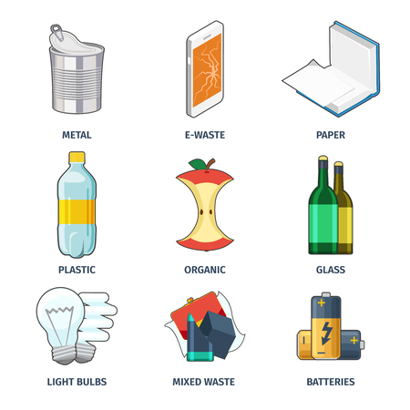 Trash categories icons vector set. Battery and bulb, collection category, energy and paper illustration