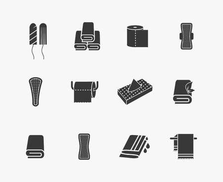 Towels, napkins and feminine hygiene products vector icons. Menstrual sanitary, woman vaginal tampon, vector illustration