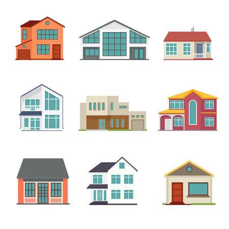 Vector set of cottage building flat icons. Architecture design real estate, home construction illustration