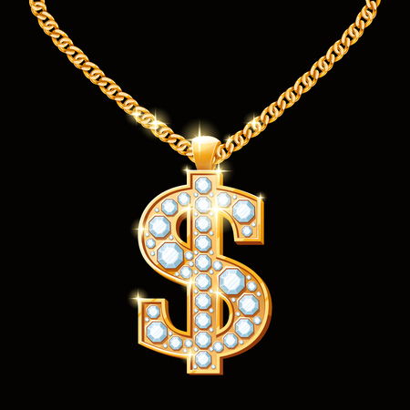 Dollar sign with diamonds on gold chain. Hip-hop style necklace.  Money finance, wealth and gem, vector illustration