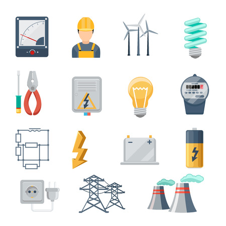 Electricity and power industry icons flat vector set. Transformer and socket, plug and capacity, energy symbol, vector illustration
