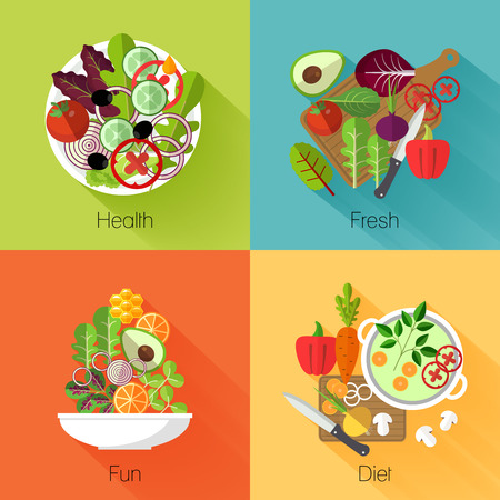 Fresh salad banners. Vegetable and avocado, product natural, eating cabbage and carrot, vitamin nutrition diet. Vector illustration