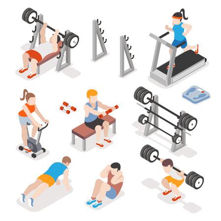 Foto de Isometric gym workout flat vector set. Men and women pumping iron illustration. Fitness concepts. Exercise training, strength physical illustration - Imagen libre de derechos