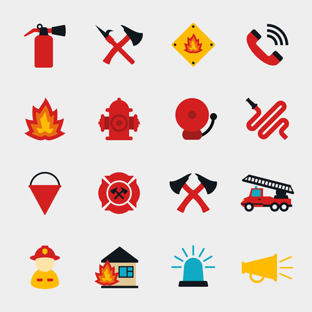 Fire fighter flat icons set. Equipment protection, flame and extinguisher, vector illustration